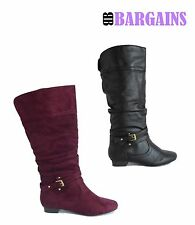 Womens Knee High Slouchy Riding Boots Fashion Faux Leather Suede Side Zipper
