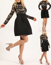 Ladies women's floral lace black long sleeve pleated skater skirt dress 8-16