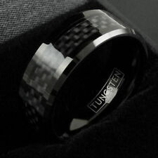Tungsten Ring Black Carbon Fiber Wedding Band Mens & Womens Engraving Available