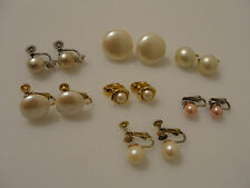 Vintage faux pearl clip earrings Trifari Marvella pink unsigned different sizes