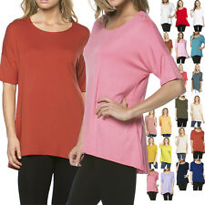 USA Women Hi-Low Hem Short Sleeve Round Neck Stretch Tunic Tee Shirt Top Rayon