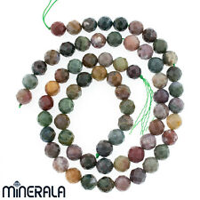 [1+1 AT 30% OFF] NATURAL MULTICOLOR INDIAN AGATE FACETED ROUND BEADS 40cm STRAND