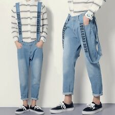 Hot Fashion Men's Denim Slim Bib Pants Suspender Trousers Overalls Cropped Jeans