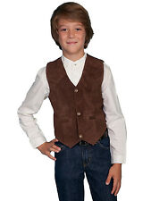 Scully Leather Kids Boys Expresso Boar Suede Western Vest