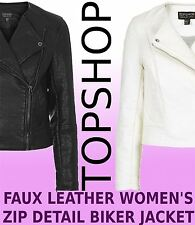 Topshop Leather Look BLACK & WHITE Women's Zip Front Biker Jacket - ALL SIZES