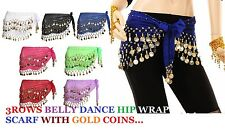 3 ROWS BELLY DANCE HIP SCARF WRAP BELT DANCER SKIRT COSTUME COINS ALL COLOUR*Bly