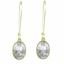 Gold Plated Oval Puzzle Pierced Earrings on a Hoop made with SWAROVSKI® Crystals