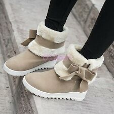 Girls NEW Fur Lined Girls ANkle calf WInter Snow Boots Faux Suede Bow US4-10.5