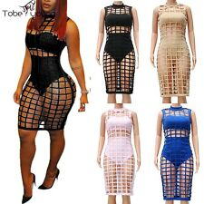 New 3pc Sexy Women Cut Out Bandage Cocktail Dress Bodycon Midi Pencil Party Club