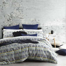 Platinum Logan and Mason Zander Blue Duvet Doona Quilt Cover Set Queen King Bed