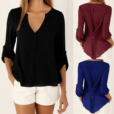 Summer Women Tops Long sleeves Casual V-neck Loose Tee Shirt New Blouse Chiffon