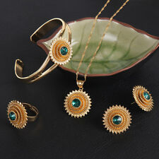 Womens Ethiopian Jewelry Set African Sunflower Earrings Bridal Jewelry