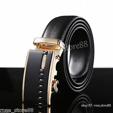 Luxury Mens Gold Automatic Belt Buckle Casual Leather Waist Strap Belt Waistband