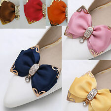 Brown Pink Dark Blue Butterfly Bow Crystal Wedding Bridal Shoe Clips Pair