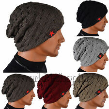 Mens Womens Skull Chunky Knit Beanie Reversible Baggy Cap Warm Winter Unisex Hat
