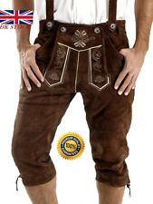 NEW MENS BAVARIAN LEDERHOSEN BROWN AUSTRIA OKTOBERFEST LEDERHOSEN ALL SIZES