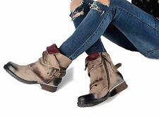 Punk Womens Genuine Leather Goth Buckle Motorcycle Combat Riding Ankle Boots Sz