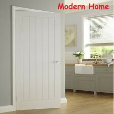 White Internal Door Moulded 5 Panel Primer Wood Modern Home Interior Gate Tools