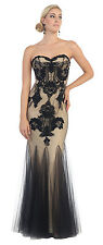 Long Formal Prom Dress Strapless Sweetheart Sequins Lace Homecoming Evening