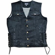 Snap Front with Laced Sides Black Denim Biker Vest