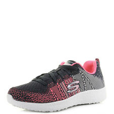 Womens Skechers Burst Ellipse Charcoal Pink Knit Mesh Trainers Shoes Shu Size