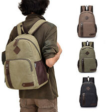 Men's Vintage Backpack Canvas Rucksack Laptop Travel School Camping Shoulder Bag