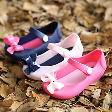NEW Kid Girl Children Sandals Bow Fish Head Jelly Shoes Princess Soft Sole Flats
