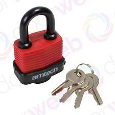 Amtech Heavy Duty WEATHERPROOF PADLOCK Laminated Lock Steel Shackle with 4 Keys