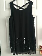 Ladies Black Chiffon Floaty Sparkly Sequin Tunic Top-Yours Clothing Plus Size 22