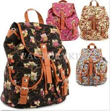 Women's Vintage Canvas Owls Cute School Satchel Rucksack Backpack Campus Bag MNT