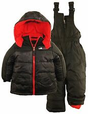 iXtreme Little Boys' Colorblock 2-Piece Snowsuit Puffer Jacket Ski Bib Pant Set