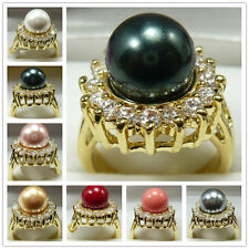 Noblest 10mm South Sea shell pearl Gemstone Jewelry 14K GP Ring Size: 7 8 9 10