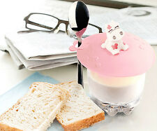 Cute cow silicone airtight cup cover sealed coffee mug lid cap with spoon holder