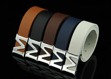 Silver Letter M Buckle Leather Simple Mens Waist Belt Jeans Fashion Waistband