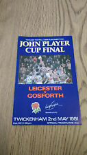 Leicester v Gosforth 1981 John Player Cup Final Rugby Programme