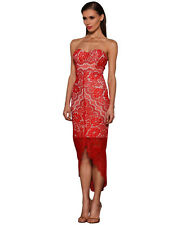 NEW RRP$310 Elle Zeitoune LUXE Macey Red Strapless Lace Dress (Red)