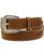 Ariat  Western Mens Belt Leather Lacing Overlay Concho Brown A1021602