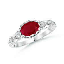 Vintage Style Natural Red Ruby Solitaire Ring with Diamond Accent 14k White Gold