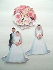 3D~U Pick - Bride Groom Bouquet Couple Wedding Scrapbook Card Embellishment 1877