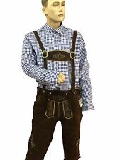 McWilliams German Bavarian Authentic trachten Men Lederhosen Brown Suede Leather