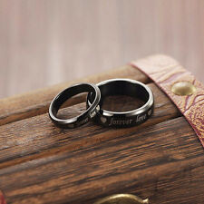 His and Her Steel titanium Couple Rings Forever love Promise Wedding Band Rings