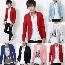 Fashion Mens Slim Fit Stylish Formal One Button Suit Blazer Coat Casual Jacket &