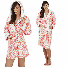New Luxury Designer Ladies Coral Floral Soft Short or Long Dressing Gown Robe