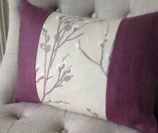 Panelled cushion cover Laura Ashley pussy willow natural /bacall grape,3 sizes