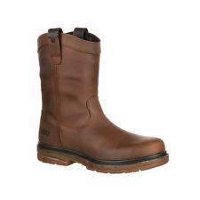 Rocky Mens Brown Leather Elements Wellington WP Work Boots