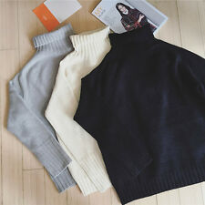 Women Sweaters Long Sleeve High Collar Loose Knitwear Pullover Tops