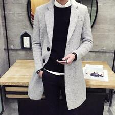 Men's Fashion Winter Trench Two Buttons Wool Blend Casual Outwear Coat Jacket #