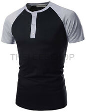 (NK7HT620) THELEES Mens Slim Fit Raglan Sleeve Henely Neck Casual T-shirts