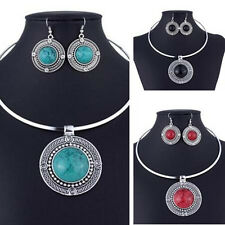 Necklace Earrings Sets For Jewelry Sets Round New Hot Turqoise Women Vintage