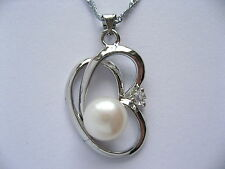"""18"""" 9mm Cultured White Freshwater Pearl Platinum Plated Heart Pendant Necklace"""